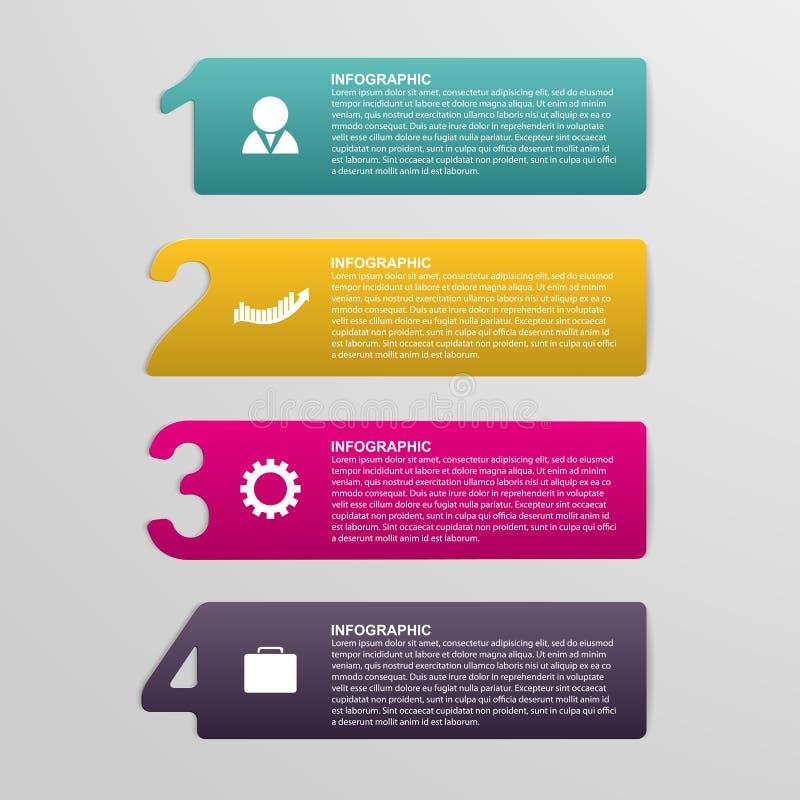Infographic numerada colorido creativo bajo la forma de cintas Elemento del diseño stock de ilustración