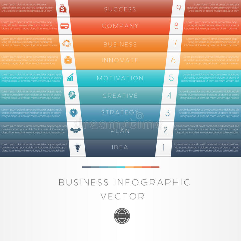 Infographic nummerierte Position neun der Farbstreifen stock abbildung