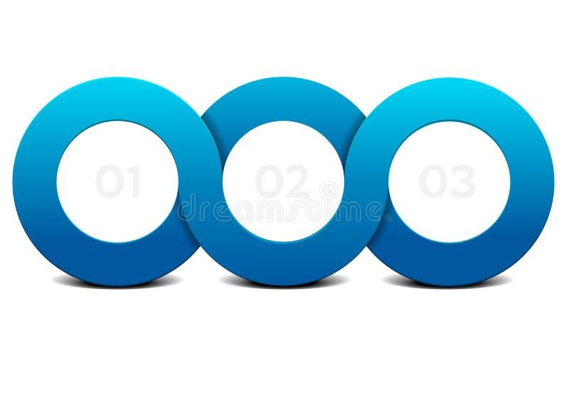 Infographic oändlighetscirkel för tre moment stock illustrationer