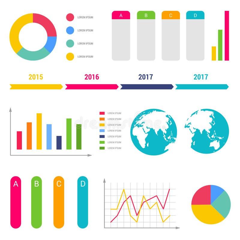 Infographic obieg diagramów linii czasu kroki sporządzają mapę stołowych teksta pudełka flowchart projekta elementy ilustracji