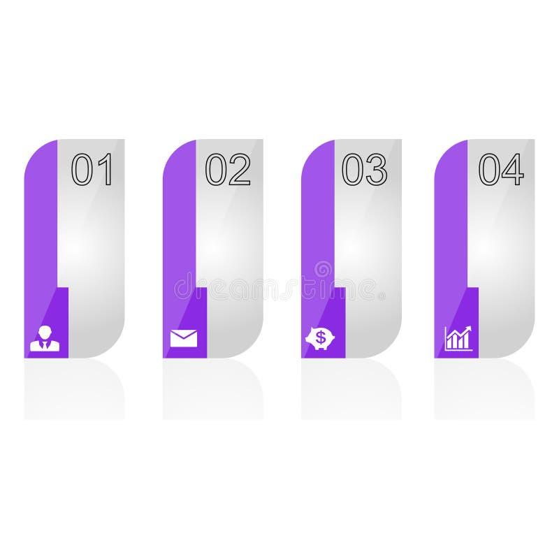 Infographic od purpur obciosuje z ikonami, liczby ilustracja wektor