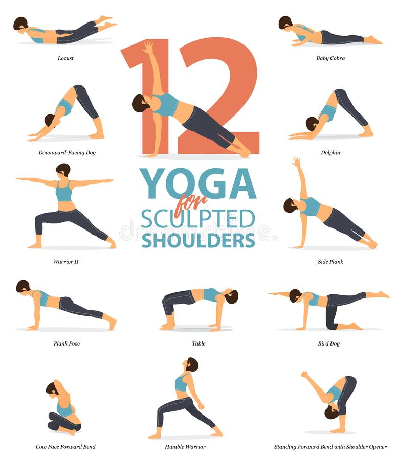 Free Infographic Of 12 Yoga Poses For Sculpted Shoulders In Flat Design. Beauty Woman Is Doing Exercise For Body Stretching. Vector. Stock Photography - 171884982