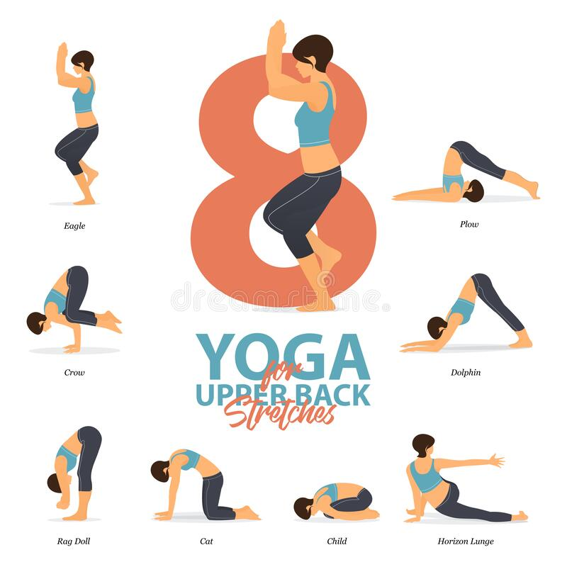 Free Infographic Of 8 Yoga Poses For Upper Back Stretches In Flat Design. Beauty Woman Is Doing Exercise For Body Stretching. Vector. Royalty Free Stock Photography - 173462997