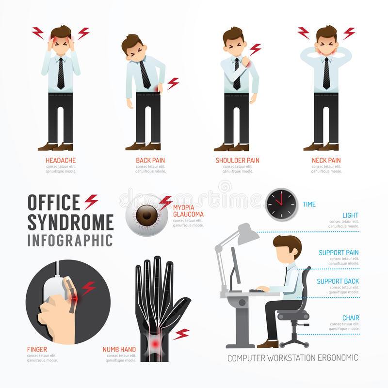 Infographic office syndrome Template Design . Concept Vector ill royalty free illustration