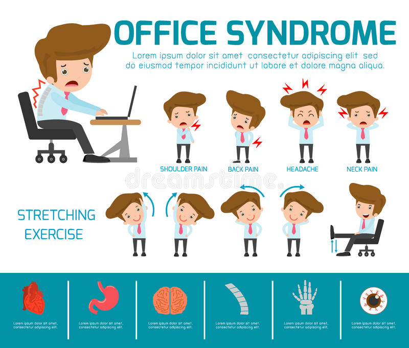 Infographic office syndrome Template Design,. health concept. infographic element. vector flat icons cartoon design. illustration. stock illustration