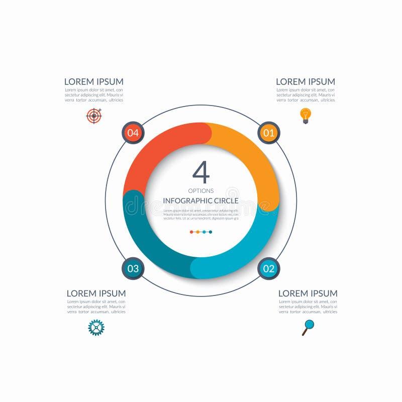 Infographic okrąg 4 opci, kroki, części Biznesowy pojęcie dla diagrama, wykres, mapa rabatowy bobek opuszczać dębowego faborków s royalty ilustracja