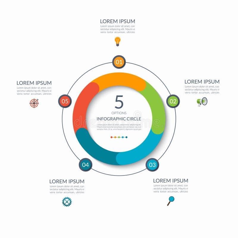 Infographic okrąg 5 opcj, kroki, części Biznesowy pojęcie dla diagrama, wykres, mapa rabatowy bobek opuszczać dębowego faborków s ilustracja wektor