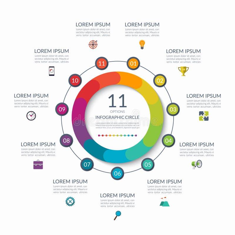 Infographic okrąg 11 opcja, kroki, części Biznesowy pojęcie dla diagrama, wykres, mapa rabatowy bobek opuszczać dębowego faborków royalty ilustracja