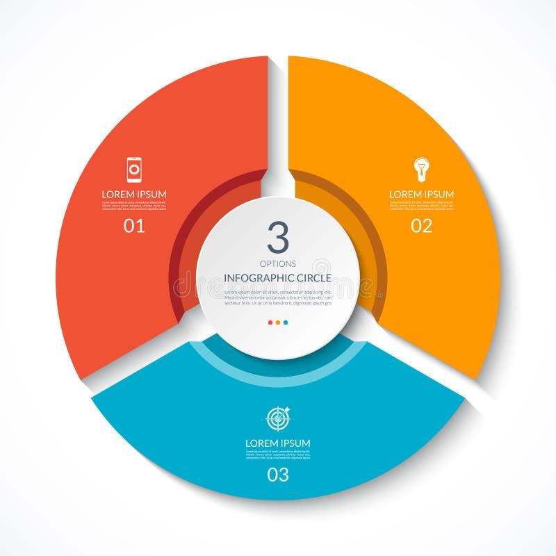 Infographic okrąg Proces mapa Wektorowy diagram z 3 opcjami ilustracja wektor