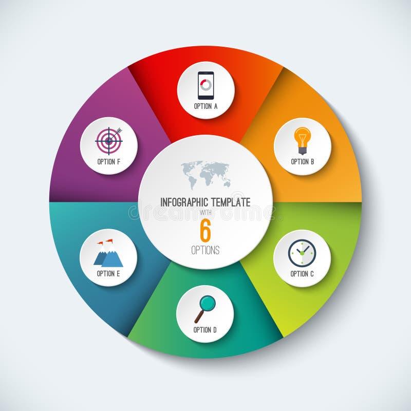 Infographic okrąg Wektorowy opcja sztandar z 6 krokami ilustracja wektor