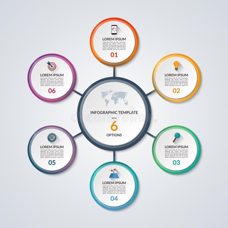 Infographic okręgu diagrama szablon z 6 opcjami ilustracji