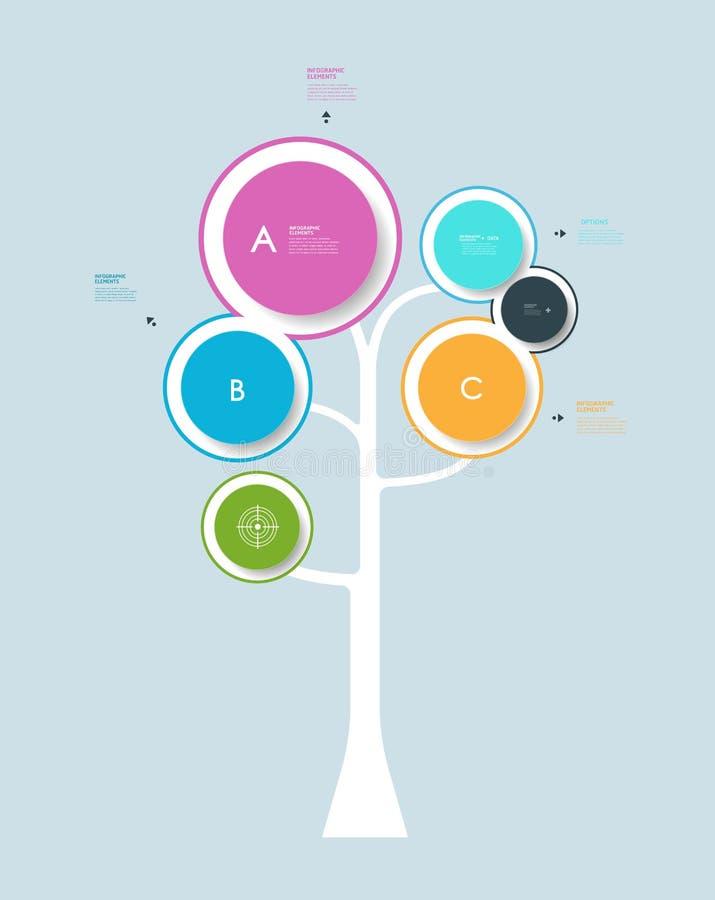 Infographic okręgu etykietki projekt z abstrakcjonistycznym drzewnym wzrostowym drzewnym pojęciem royalty ilustracja