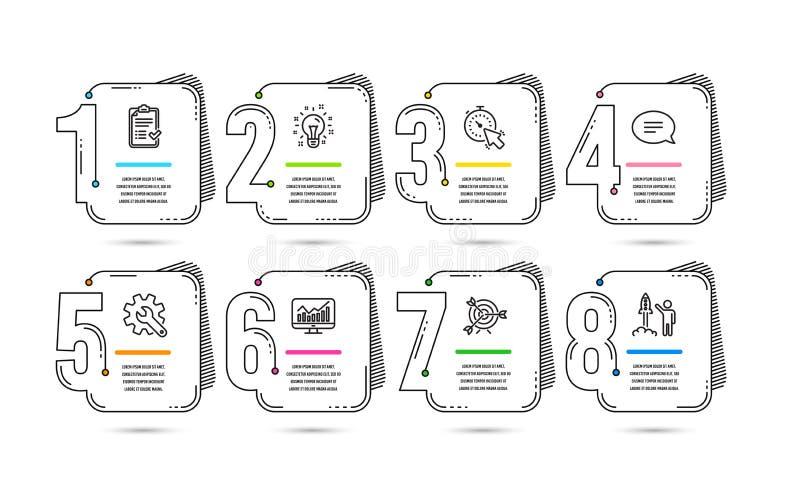 Infographic 8 opções ou projetos do espaço temporal das etapas Infographics para o conceito do negócio Disposição dos trabalhos V ilustração do vetor