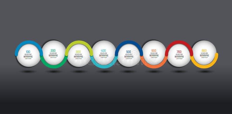 Infographic opci wektorowy sztandar, linia czasu Kolor sfery, piłki, gulgoczą royalty ilustracja