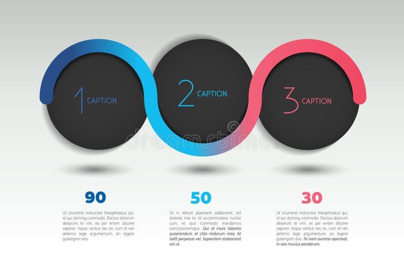 Infographic opci wektorowy sztandar z 3 krokami Kolor sfery, piłki, gulgoczą royalty ilustracja
