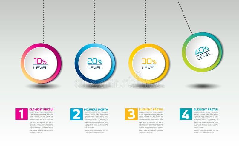 Infographic opci wektorowy sztandar z wahadłem Kolor sfery, piłki, gulgoczą royalty ilustracja