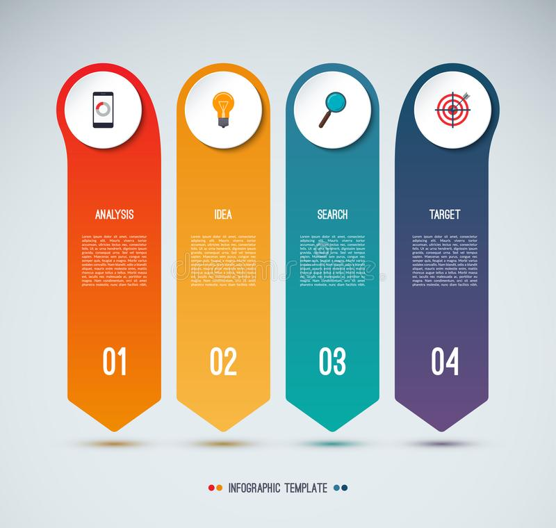 Infographic options banner. 4 vertical arrows pointing down. Vector background. Can be used for web design, diagram, chart, graph, step options, business stock illustration
