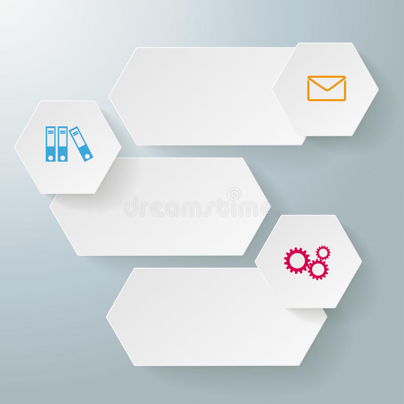Infographic 3 Options Long Hexagons royalty free illustration