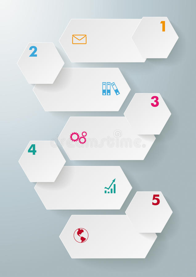 Infographic 5 Options Long Hexagons stock illustration