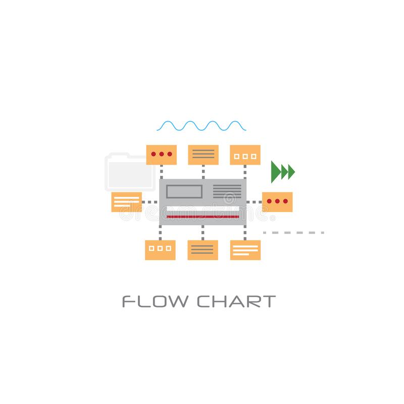 Infographic organization data flow chart concept line style white background. Vector illustration vector illustration