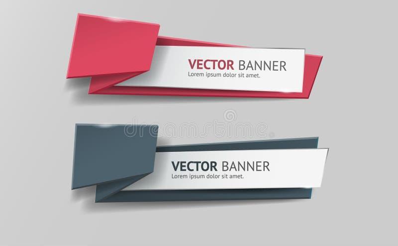 Infographic Origamifahnen des Vektors eingestellt lizenzfreie abbildung