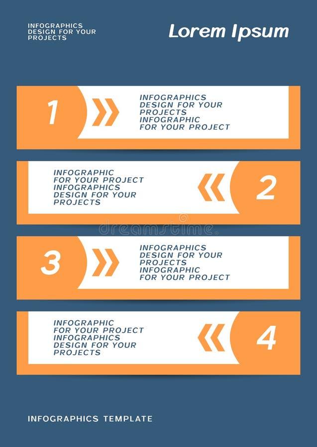 Infographic ou projeto da bandeira da Web com etapas numeradas ilustração stock