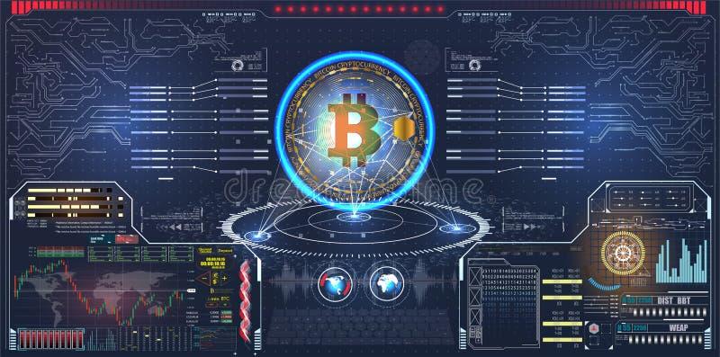 Infographic ou relação da tecnologia para o visualização da informação Ciência e espaço, tecnologia e ficção científica, holog do ilustração stock