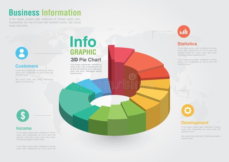 Infographic pajdiagram för affär 3D Idérik fläck för affärsrapport royaltyfri illustrationer