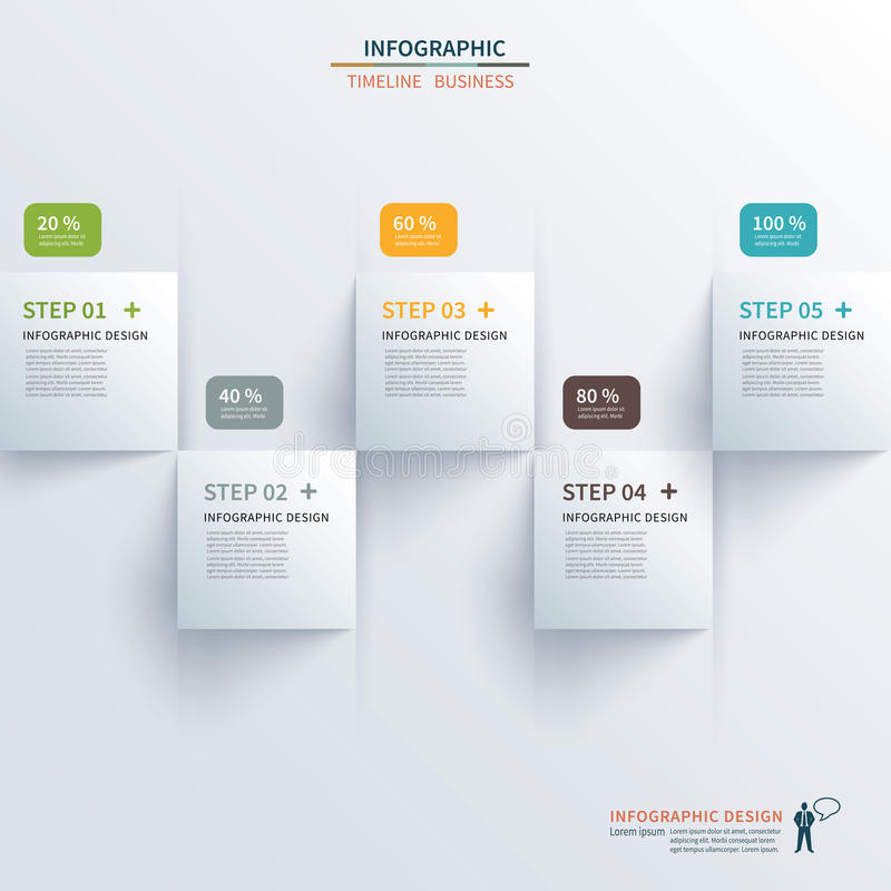 Infographic pappers- fyrkantig timeline royaltyfri illustrationer