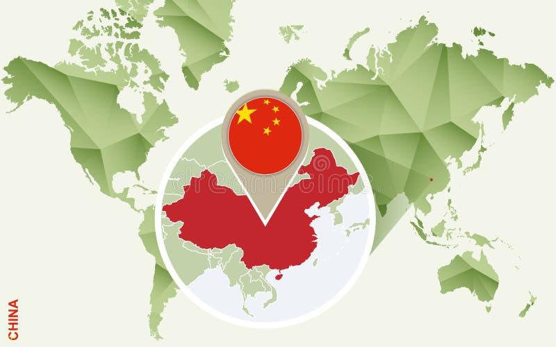 Infographic para China, mapa detallado de China con la bandera stock de ilustración