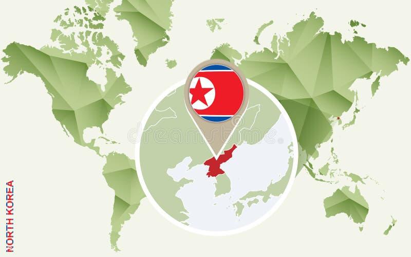 Infographic para Corea del Norte, mapa detallado de Corea del Norte con la bandera stock de ilustración