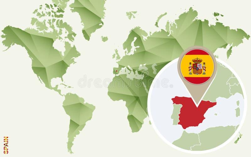 Infographic para a Espanha, mapa detalhado da Espanha com bandeira ilustração royalty free
