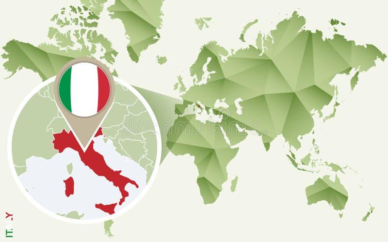 Infographic para Italia, mapa detallado de Italia con la bandera ilustración del vector