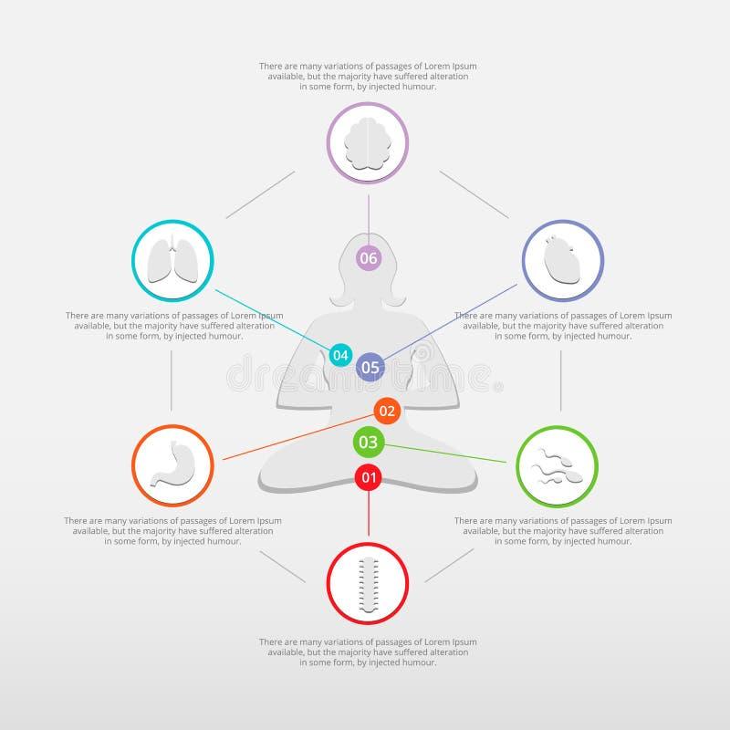 Infographic para la yoga plantea la meditación y la yoga imágenes de archivo libres de regalías