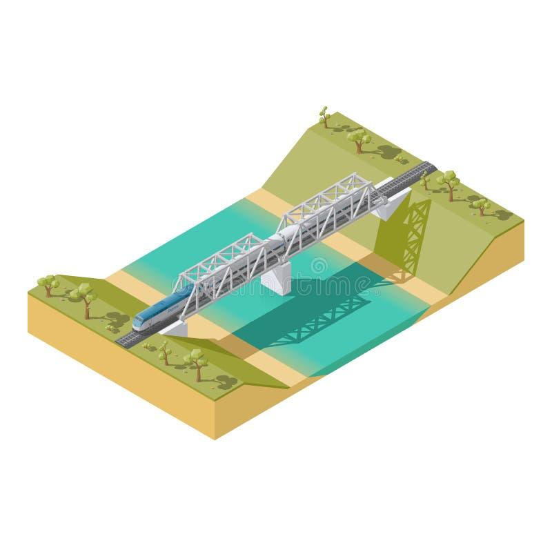 Infographic passageraredrev för beståndsdel som reser över en bro över den låga poly isometriska symbolsuppsättningen för flod royaltyfri illustrationer