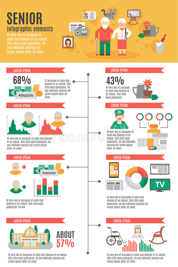 Infographic pensionäraffisch stock illustrationer