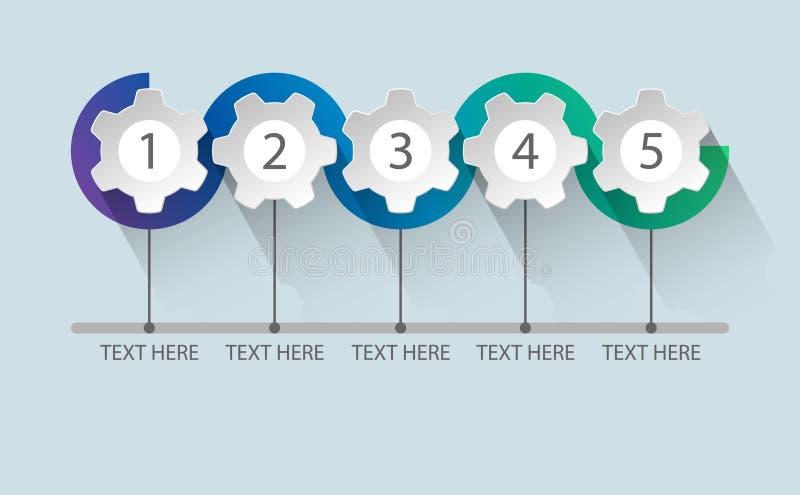 Infographic pięć kroków proces ilustracji
