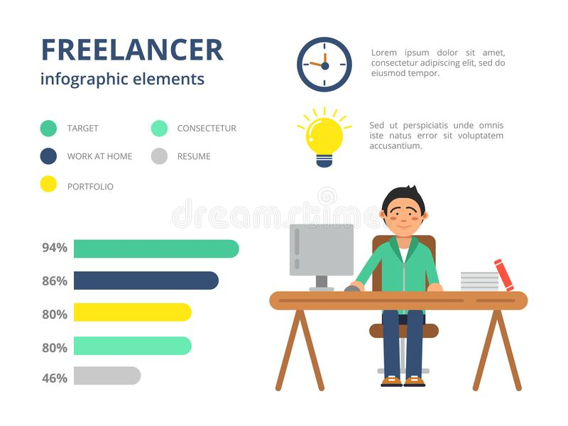 Infographic Pictures For Freelancers. Vector Design Template With ...