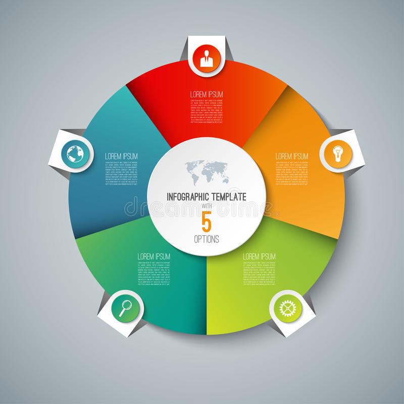 Infographic pie chart circle template with 5 options. Can be used as cycle diagram, graph, web banner, workflow layout stock illustration