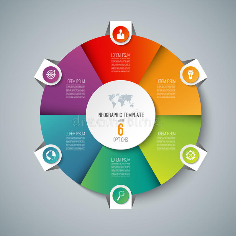 Free Infographic Pie Chart Circle Template With 6 Options. Stock Images - 92450024