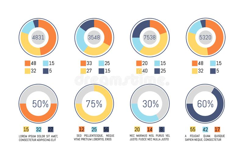 Infographic, Pie Diagrams Business Representation royalty free illustration