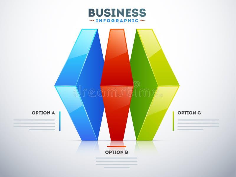 infographic Plan 3D mit drei verschiedenen Wahlen für Geschäft stock abbildung