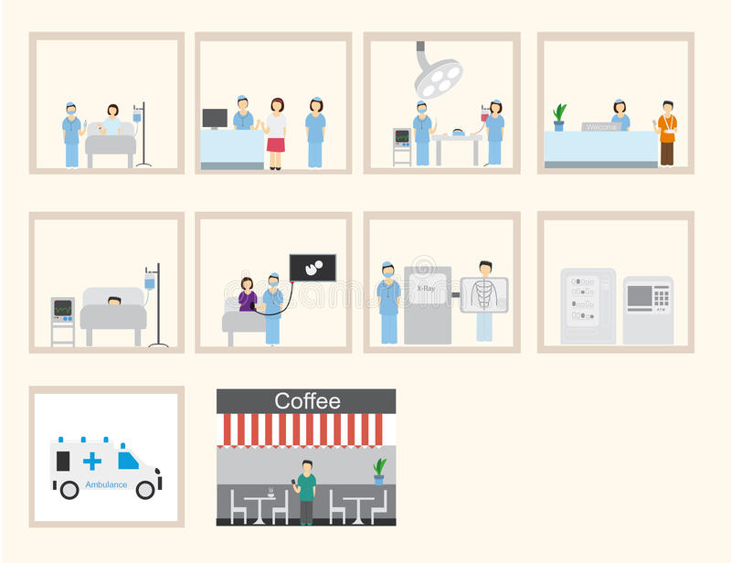 Infographic & plan design för sjukhus royaltyfri illustrationer