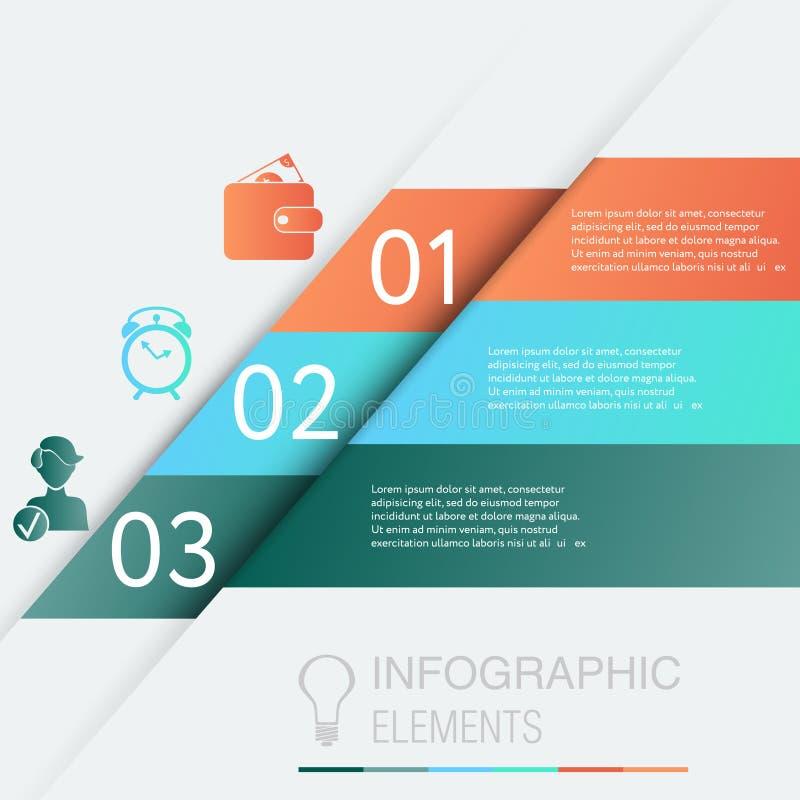 Infographic Planlägg diagrammet för nummerbanermallen eller websiteorienteringen stock illustrationer