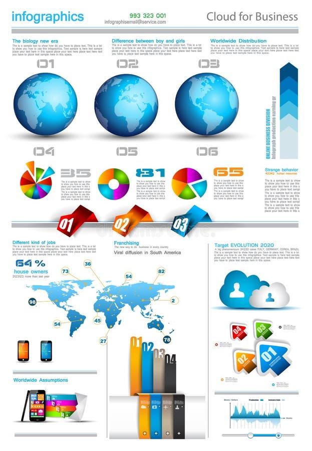 Infographic-Planschablone mit Weltkarten. stock abbildung