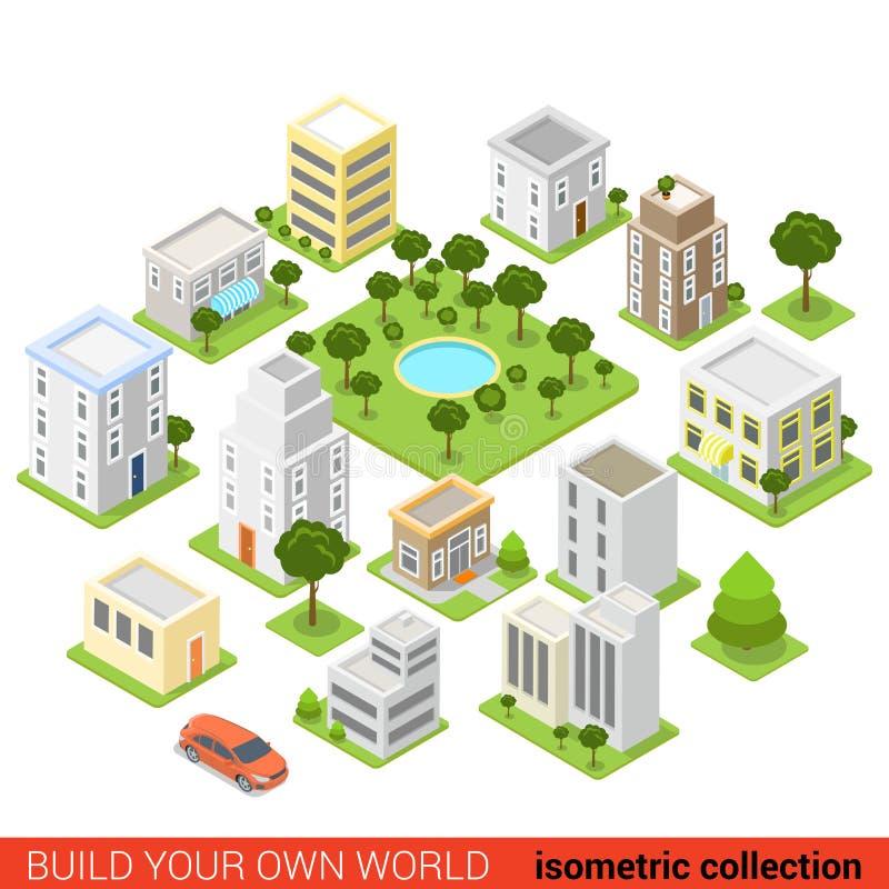 Infographic plant isometriskt för byggnadskvarter för stad 3d sov- område stock illustrationer
