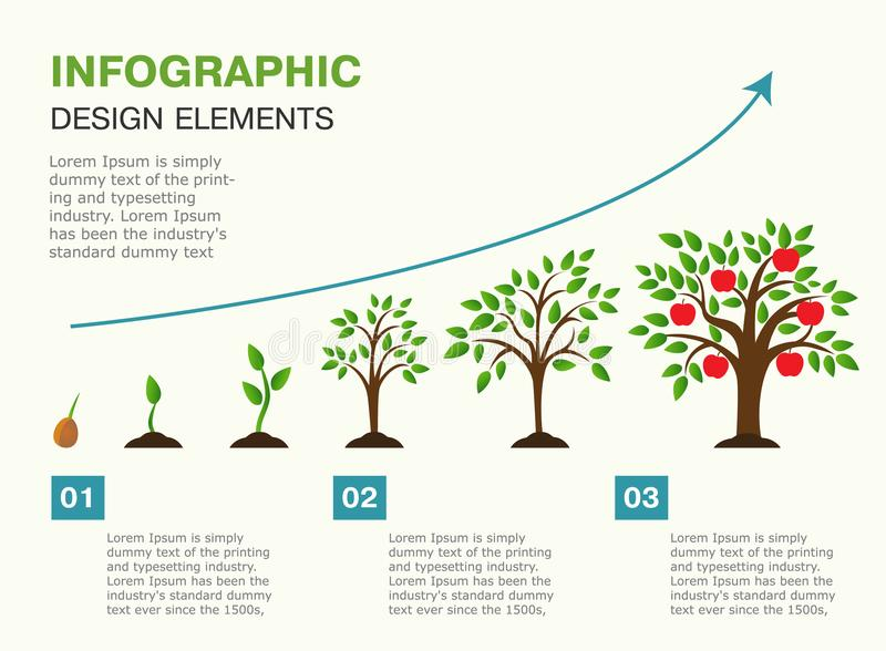 Infographic of planting tree. Seeds sprout in ground. vector illustration