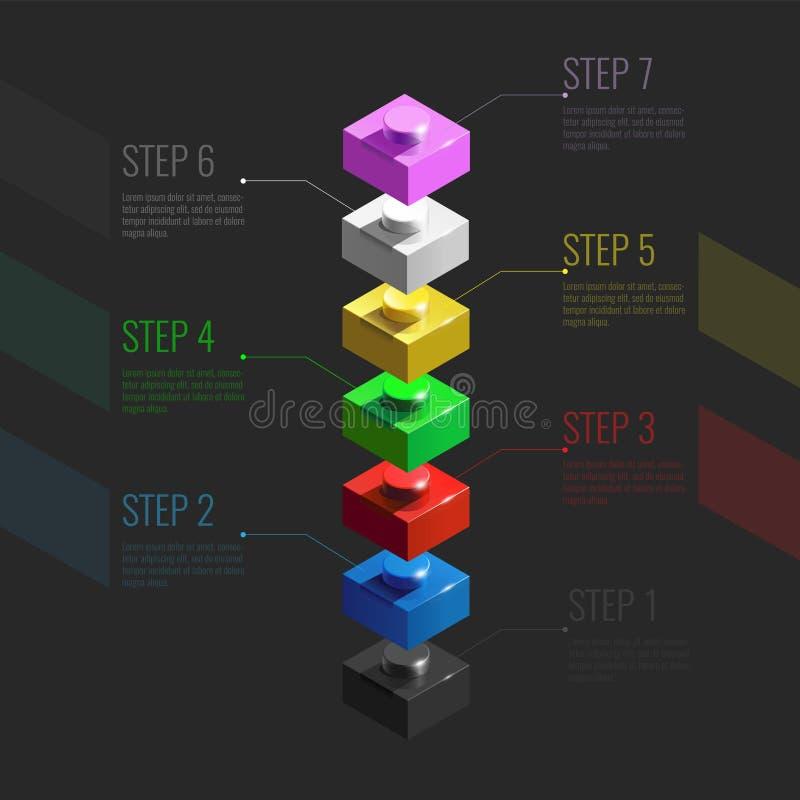 Infographic pojęcie od kolorowych 3d Lego elementów Lego cegły 3d Infographic schodki ilustracja wektor