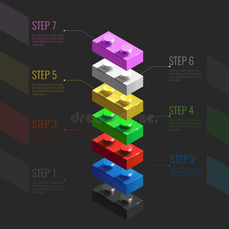 Infographic pojęcie od kolorowych 3d Lego elementów Lego cegły 3d Infographic schodki royalty ilustracja