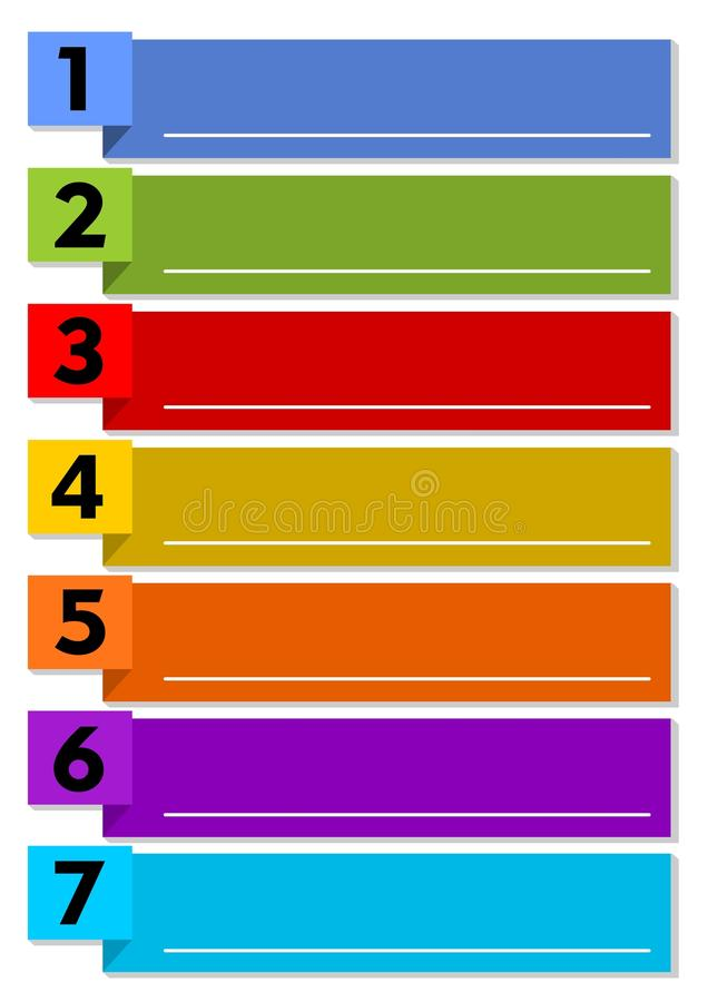Infographic presentation template of the working process in seven steps with multicolored elements and blank text frames with whit royalty free illustration